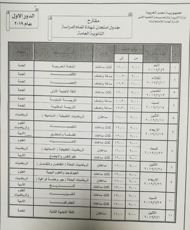 ائتلاف تحيا مصر بالتعليم يقدم جدول مقترح للثانوية العامة مناسب لجميع الشعب 47711