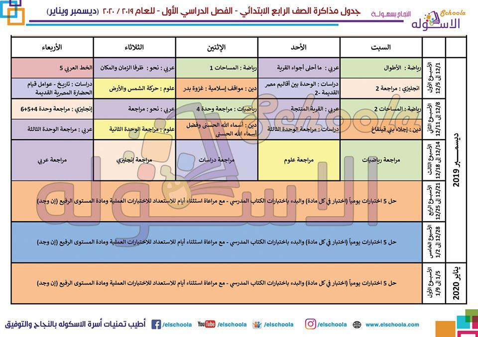 جدول مذاكرة الصف الرابع الابتدائي 2019 - 2020 4779