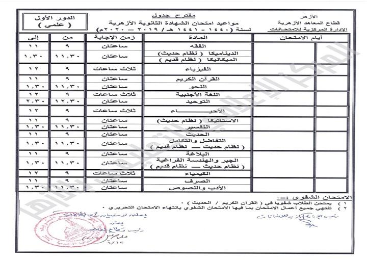 """جدول امتحانات الثانوية الأزهرية 2020 """"مقترح"""" 48311"""