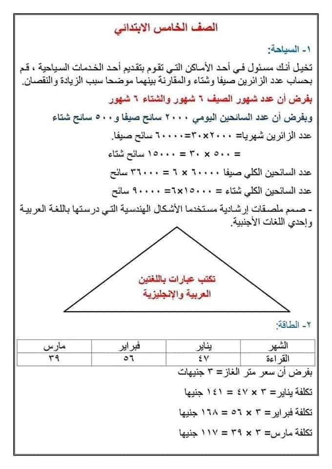 الرياضيات المطلوبة في أبحاث الصفوف الابتدائية 51028