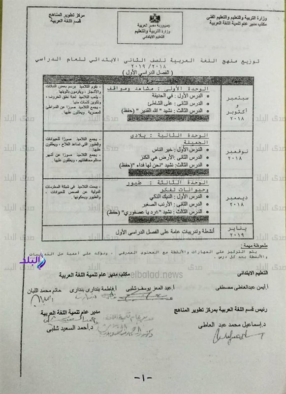 توزيع منهج اللغة العربية للصف الثاني الإبتدائي للعام 2018 / 2019 5103