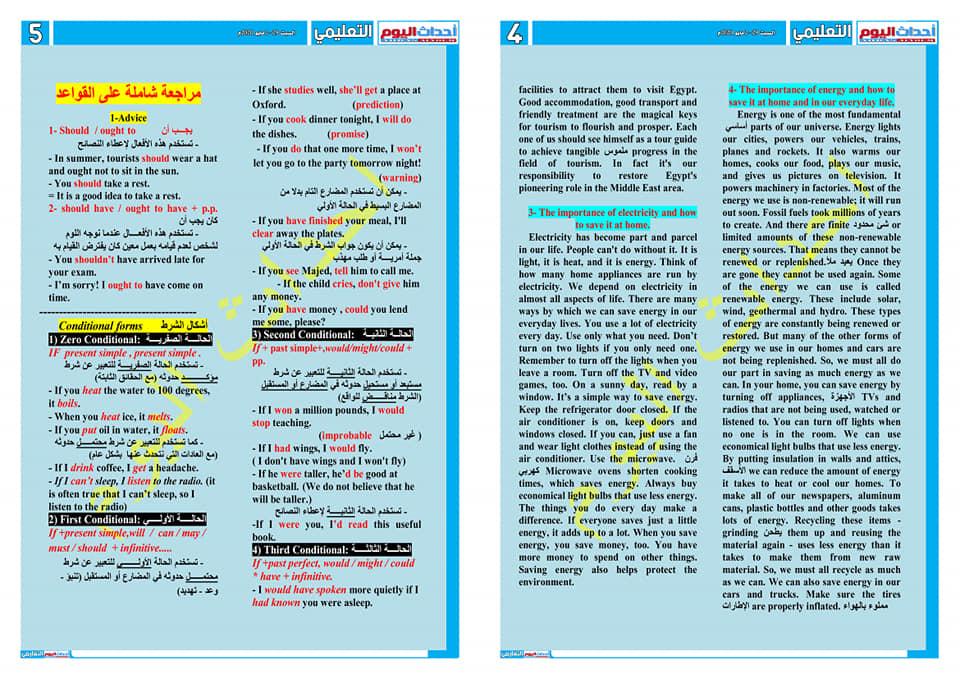 مراجعة ليلة الامتحان في اللغة الإنجليزية للصف الأول الثانوى في 4 ورقات لمستر/ طاهر منصور 51040