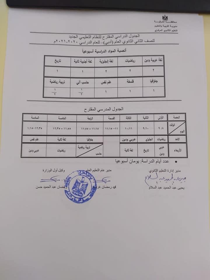 الجدول الدراسي المقترح لصفوف الثانوي العام - النظام الجديد للعام 2020 / 2021 51153