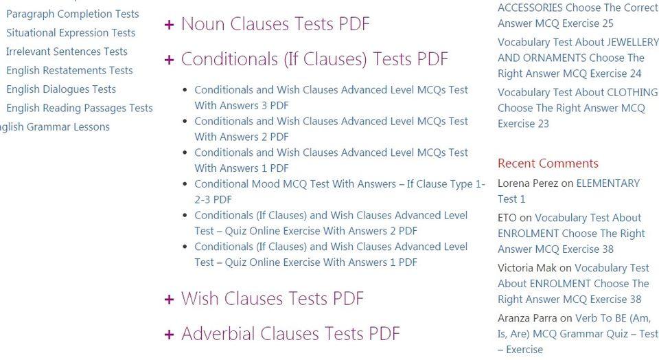 لغة انجليزية: موقع به الاف الاختبارات MCQs بالاجابات على كل قاعدة والمفردات مرشح لاختبارات الثانوية 51162