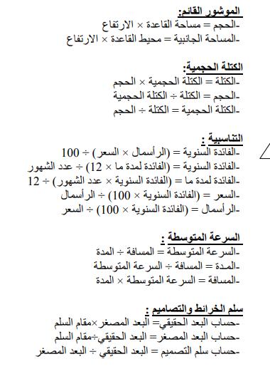 ملخص القواعد الاساسية في الرياضيات للصف السادس الابتدائي 5125
