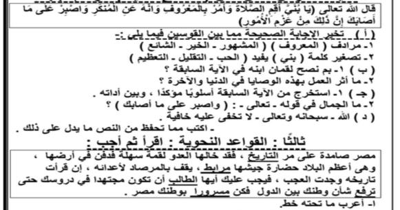 التقييم الاول في اللغة العربية للمرحلة الابتدائية والاعدادية ترم أول 2019 أ/ حسن ابو عاصم 5192