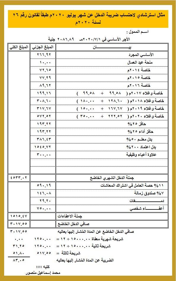 مثال استرشادي لاحتساب ضريبة الدخل حسب التعديلات الجديدة 52156