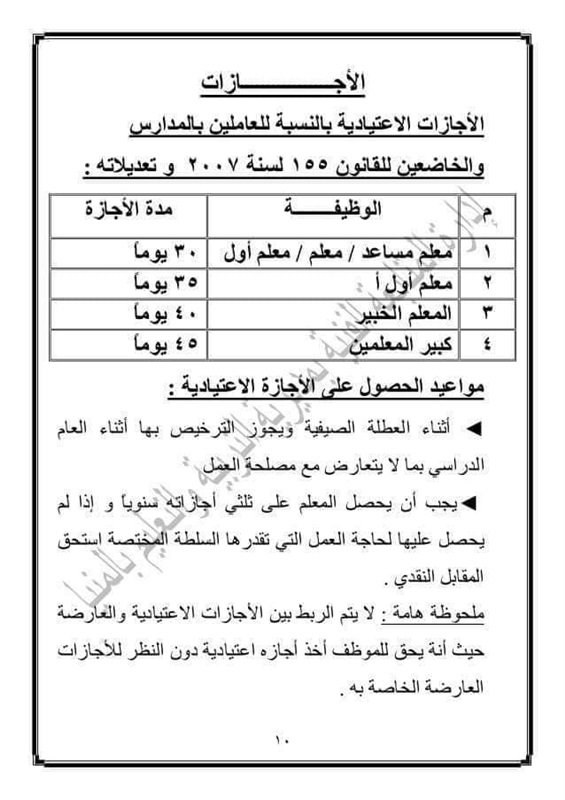 """عدد أيام الإجازات الاعتيادية للعاملين بالمدارس """"مستند"""" 54011"""