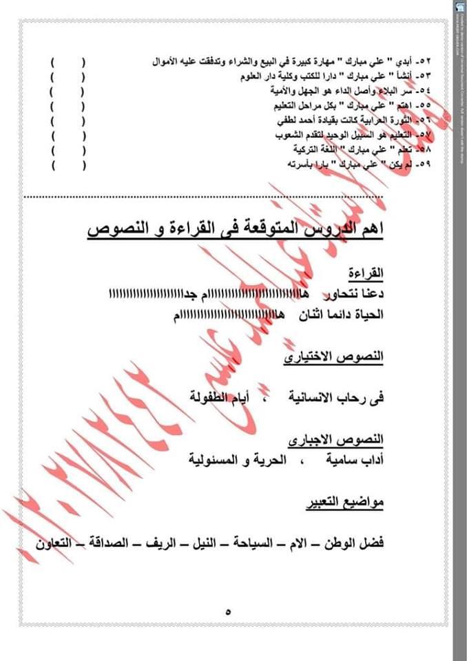توقعات اسئلة امتحان اللغة العربية للصف السادس الابتدائي ترم ثاني أ/ عبدالحميد عيسى 5498