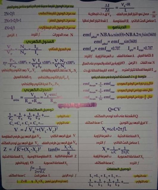 مراجعة كل قوانين الفيزياء للصف الثالث الثانوي في 4 ورقات تحفة أ/ محمد عبد المعبود 5501