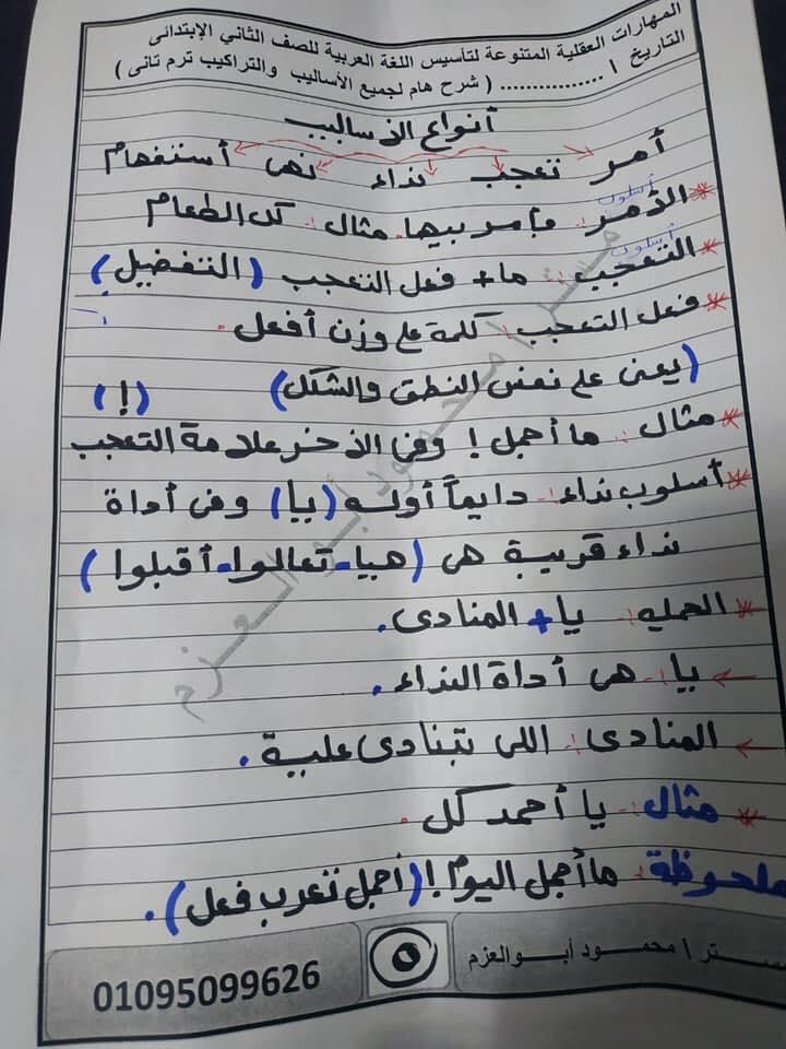 مراجعة اساليب وتراكيب رائعة للصف الثاني الإبتدائي ترم ثاني أ/ محمود أبو العزم 5502