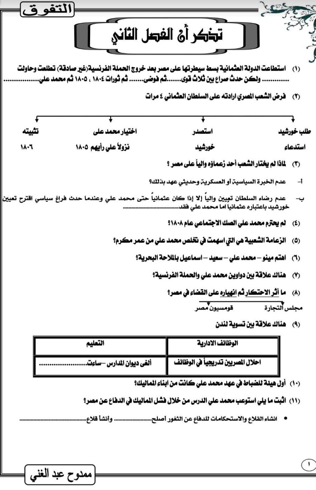 تذكر أهم أحداث التاريخ لمراجعة ليلة امتحان الثانوية العامة أ. ممدوح عبد الغني 55223