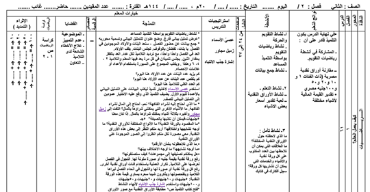 تحضير نافذة الرياضيات من الدرس ٦١ حتى الدرس ٧٠ للصف الثاني الابتدائي ترم ثاني pdf 55511