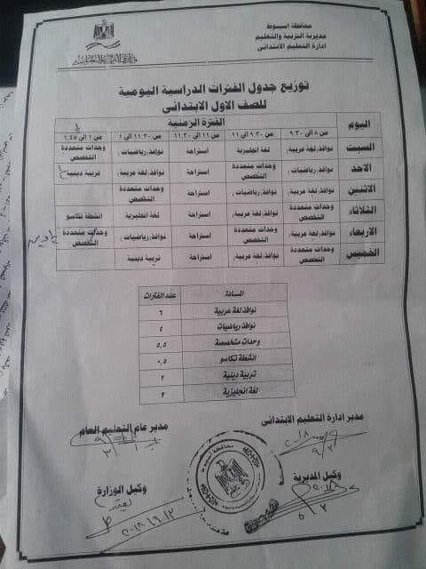 الخطة التدريسية للصف الأول الابتدائي حسب النظام الجديد للمدارس التي تعمل 6 أيام  55611