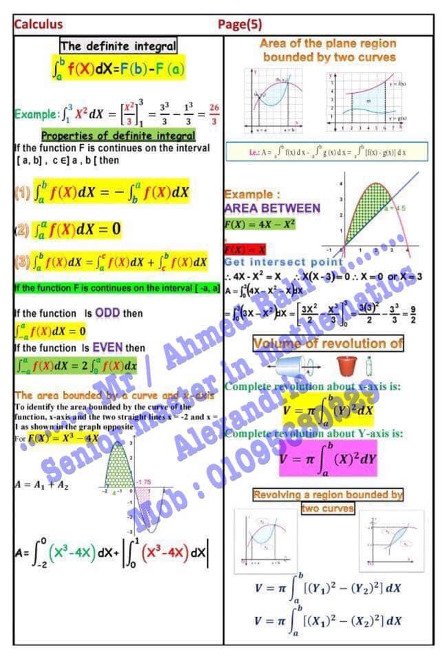 مراجعة قوانين Calculus للثانوية العامة لغات مستر/ أحمد باهي 5722