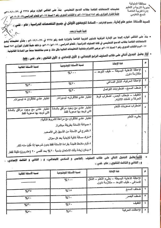 تعليمات وضع امتحانات طلاب الدمج للعام الدراسي 2019 / 2020 5805