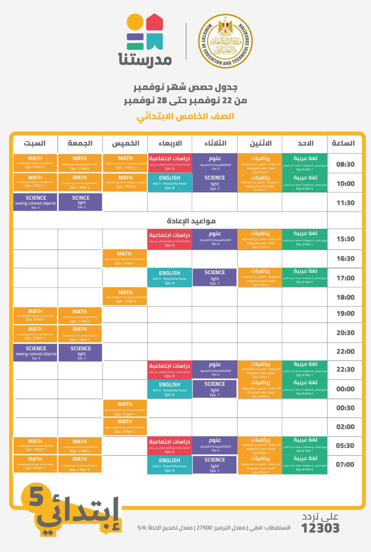قناة مدرستنا l جدول حصص الأسبوع الخامس من  الأحد ٢٢ نوفمبر حتى السبت ٢٨ نوفمبر ٢٠٢٠ 596