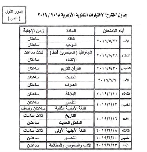 جدول امتحانات الثانوية الأزهرية 2019 المقترح 60025p11