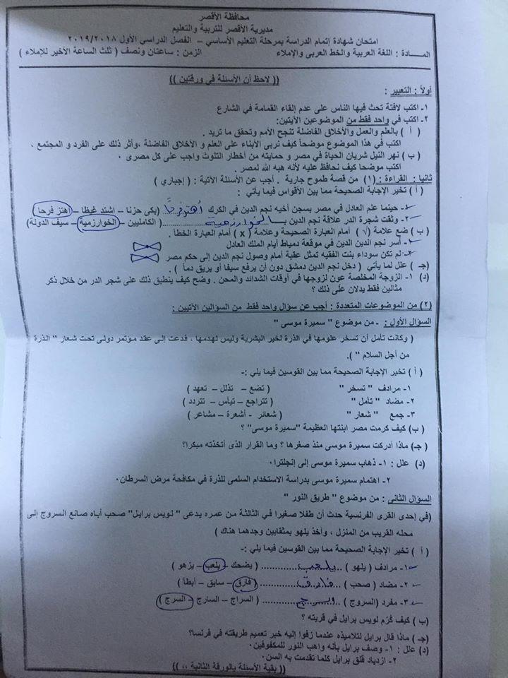 امتحان اللغة العربية للصف الثالث الاعدادي ترم أول 2019 محافظة الأقصر 6307