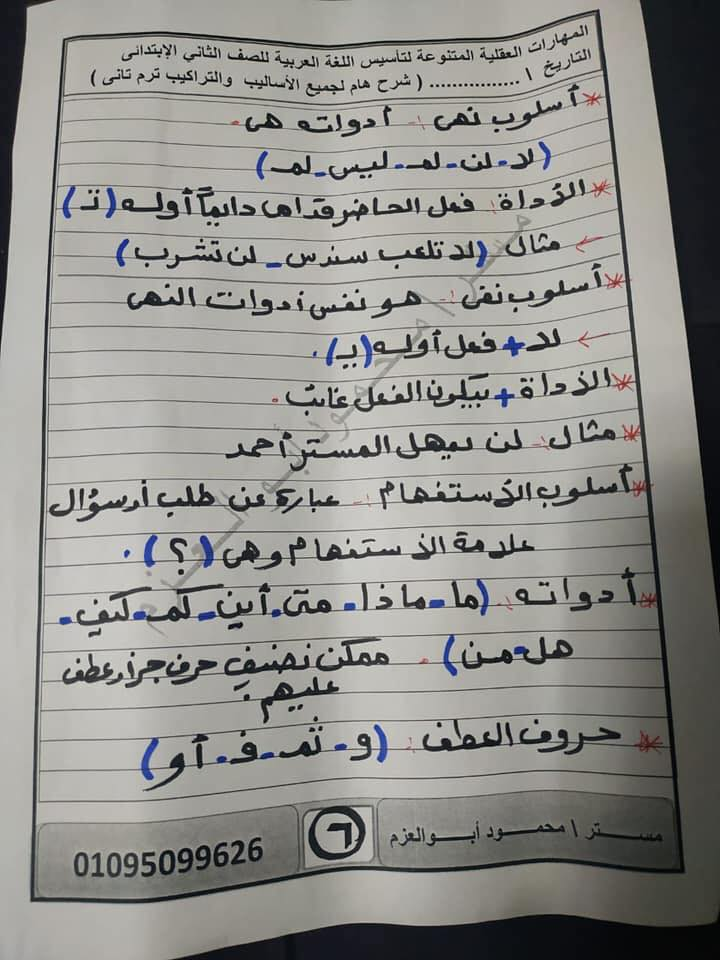 مراجعة اساليب وتراكيب رائعة للصف الثاني الإبتدائي ترم ثاني أ/ محمود أبو العزم 6401
