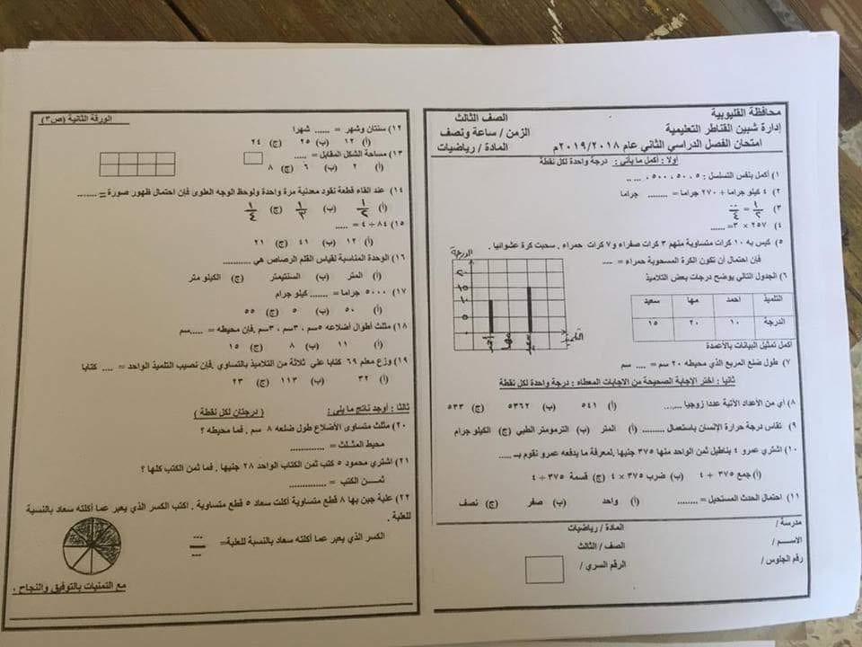 امتحان الرياضيات للصف الثالث الابتدائي ترم ثاني 2019 ادارة شبين القناطر التعليمية 6405