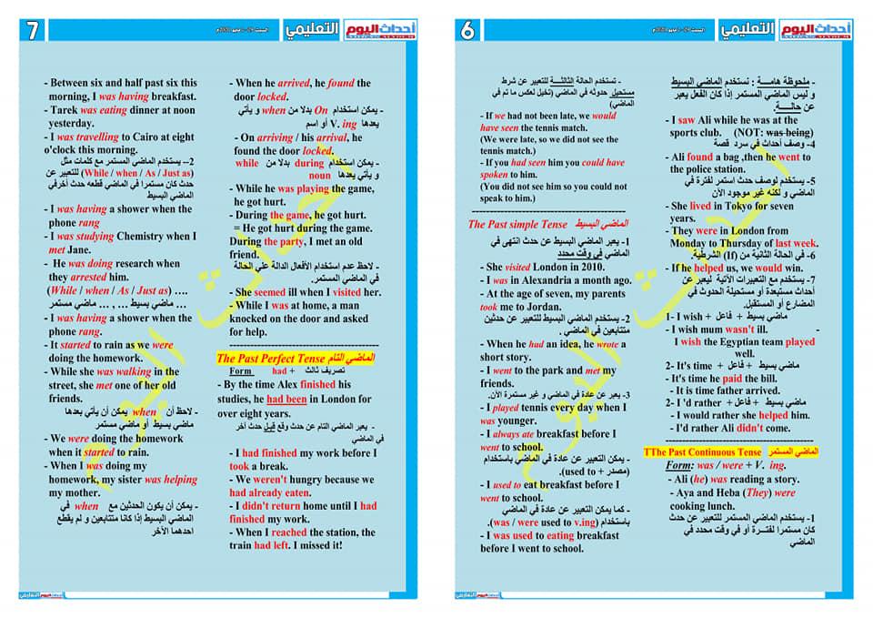 مراجعة ليلة الامتحان في اللغة الإنجليزية للصف الأول الثانوى في 4 ورقات لمستر/ طاهر منصور 6682