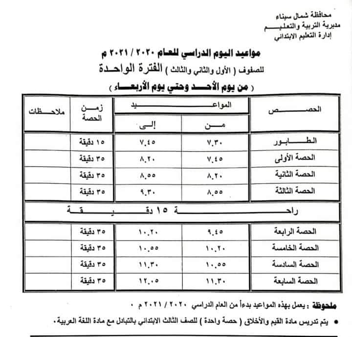 جداول مواعيد الحضور والحصص لطلاب المراحل (الابتدائية والاعدادية والثانوية) للعام الدراسي الجديد 6836