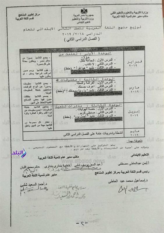 توزيع منهج اللغة العربية للصف الثاني الإبتدائي للعام 2018 / 2019 689