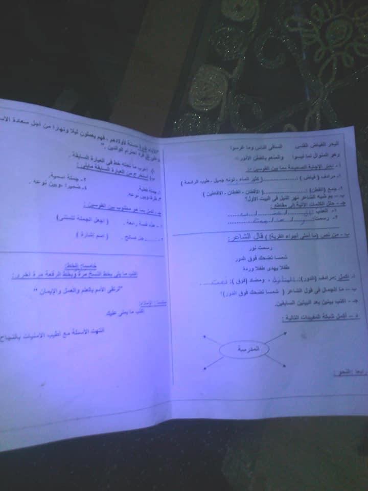 امتحان اللغة العربية للصف الرابع الابتدائي ترم أول 2019 إدارة المرج التعليمية 7202