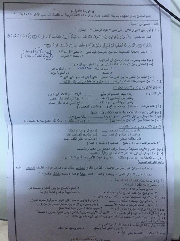 امتحان اللغة العربية للصف الثالث الاعدادي ترم أول 2019 محافظة الأقصر 7225