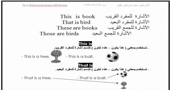 مذكرة جميلة لكل قواعد اللغة الانجليزية للمرحلة الابتدائية  أ/ابراهيم خليل 7410