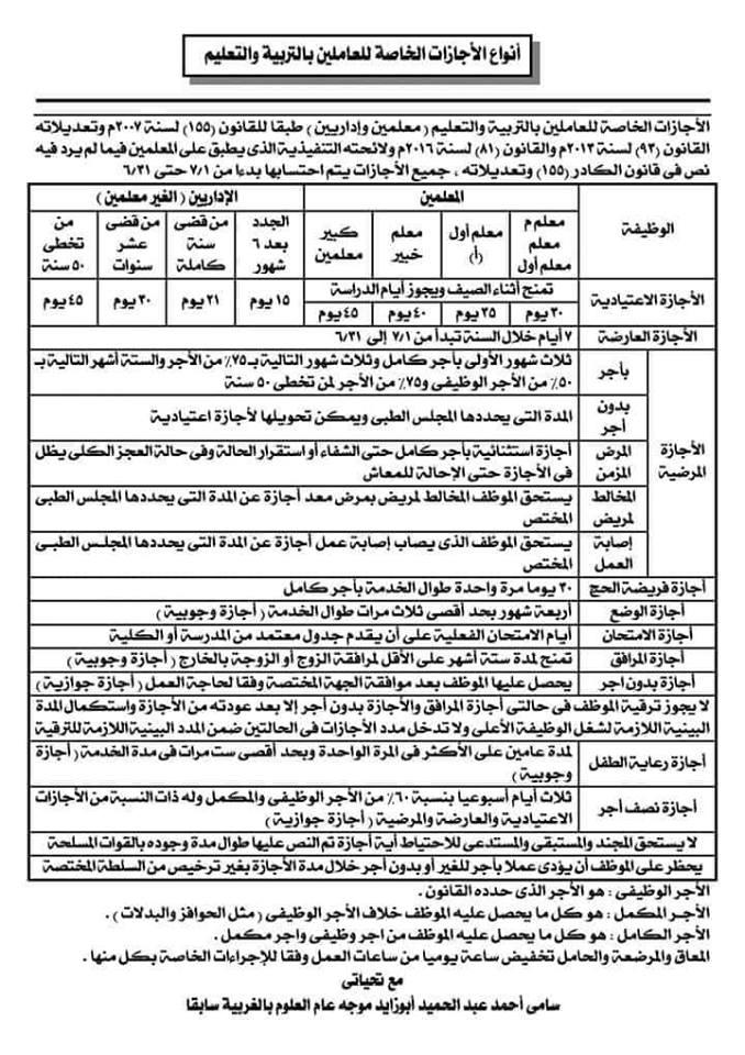 انواع الاجازات الخاصة للعاملين بالتربية والتعليم في ورقة واحدة 74411