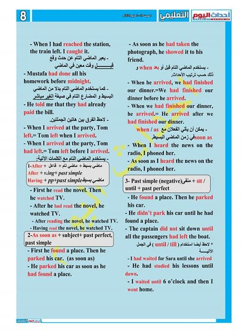 مراجعة ليلة الامتحان في اللغة الإنجليزية للصف الأول الثانوى في 4 ورقات لمستر/ طاهر منصور 7502