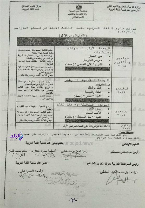 توزيع منهج اللغة العربية للصف الثالث الإبتدائي 2018 / 2019 766