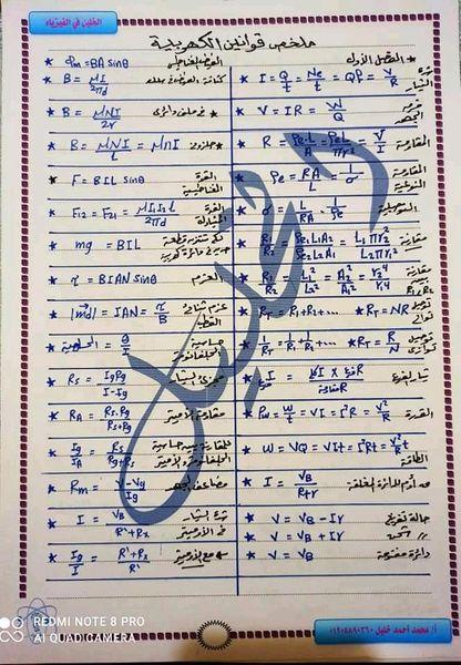 ملخص قوانين الفيزياء للثانوية العامة 7663