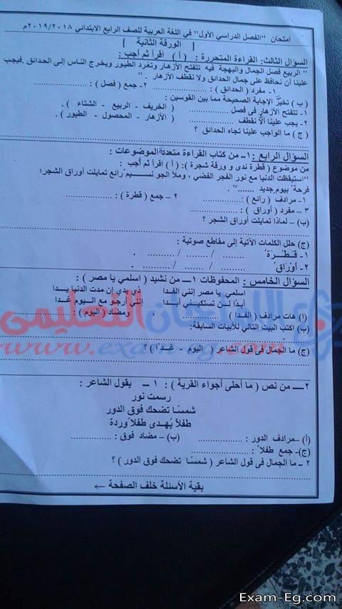 امتحان اللغة العربية للصف الرابع الابتدائي ترم أول 2019 ادارة قنا التعليمية  8209