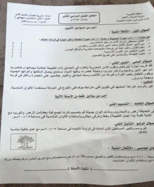 امتحان التربية الفنية للصف الأول الاعدادي ترم ثاني 2019 ادارة غرب شبرا  8276