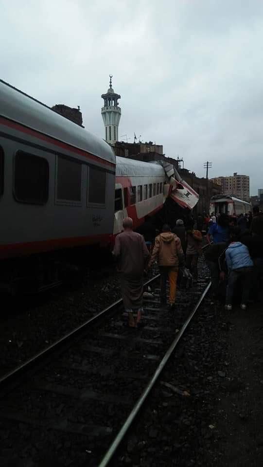 اليوم السابع | تصادم قطارى ركاب بخط الصعيد بين إمبابة ورمسيس 8484