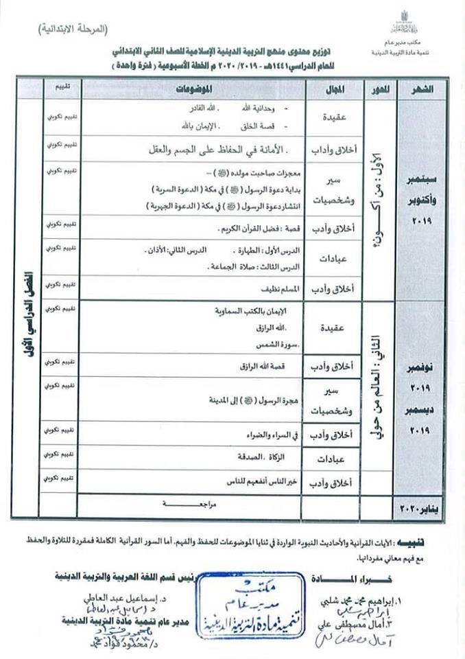 توزيع مناهج التربية الدينية الاسلامية لكل الصفوف و المراحل (ابتدائي - اعدادي - ثانوي) للعام الدراسي 2019 / 2020 8553