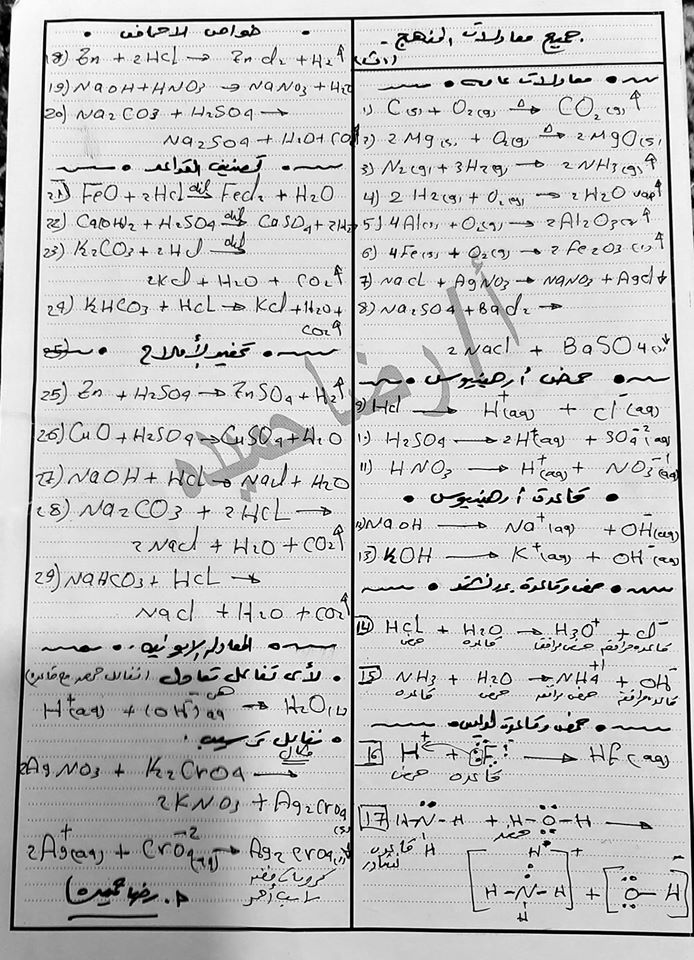 مراجعة معادلات منهج كيمياء الصف الأول الثانوى في ورقة واحدة مستر/ رضا حميده  855510