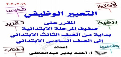 مذكرة التعبير الوظيفي للمرحلة الابتدائية (اللافتة - التلخيص - البرقية - التقرير - الرسالة - الإطناب) 8566