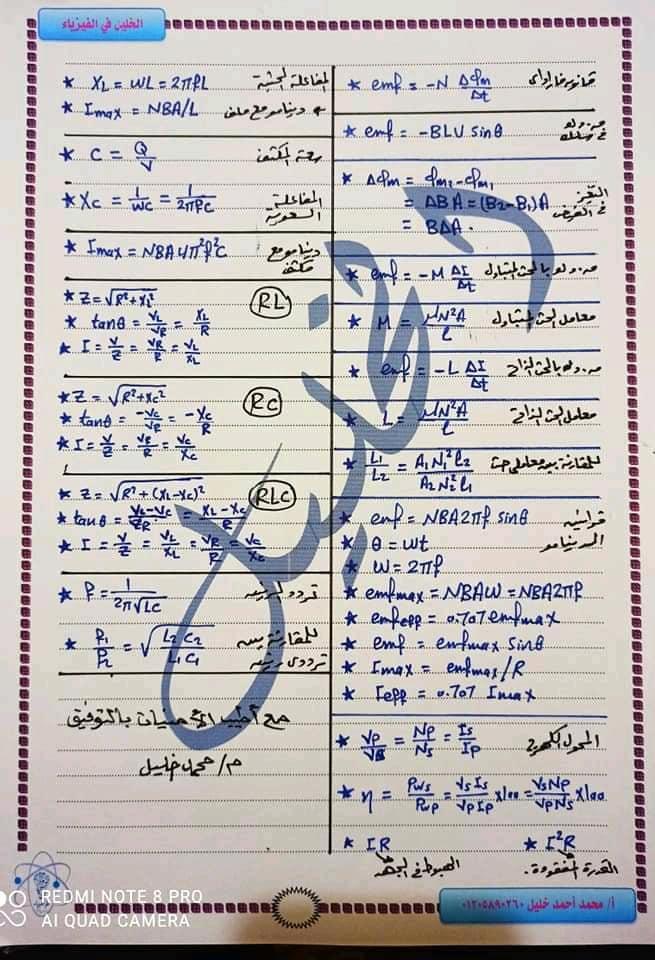 ملخص قوانين الفيزياء للثانوية العامة 8738
