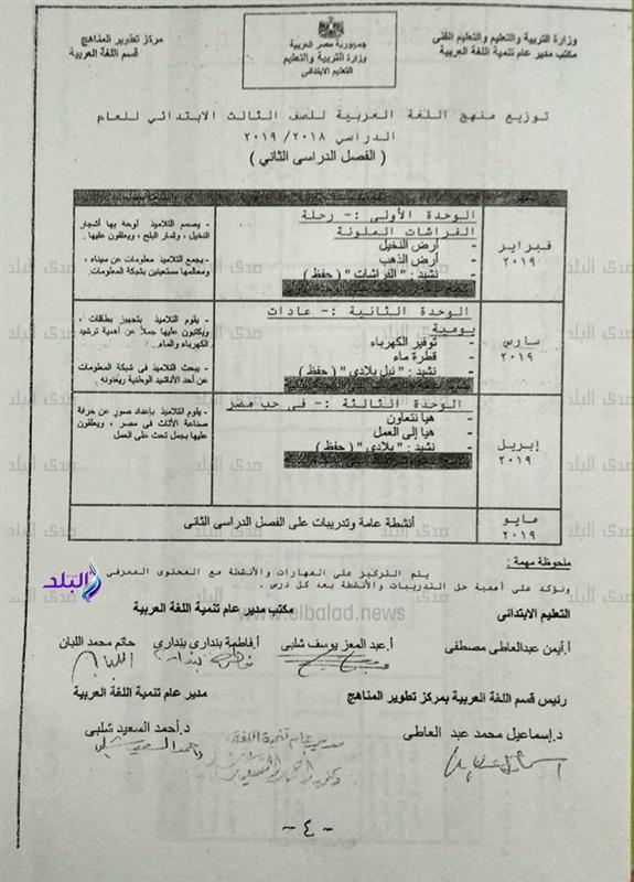 توزيع منهج اللغة العربية للصف الثالث الإبتدائي 2018 / 2019 882