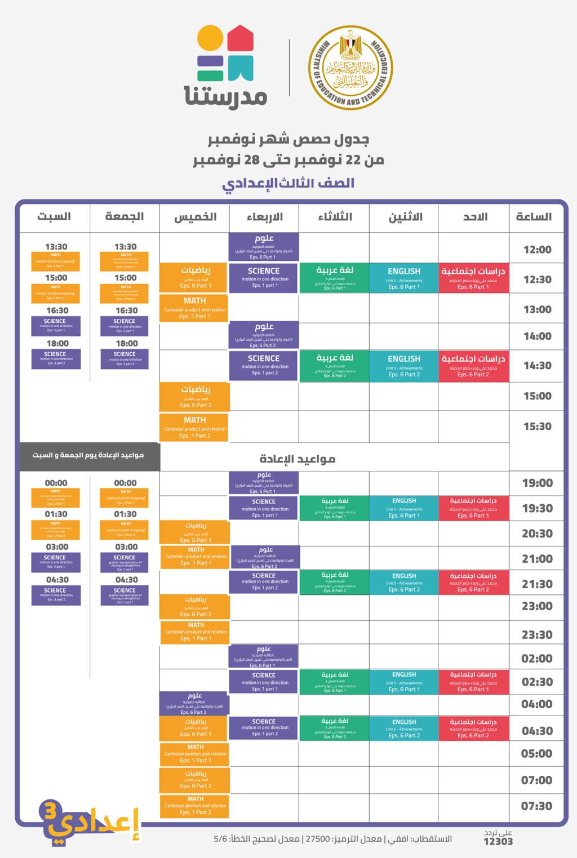 قناة مدرستنا l جدول حصص الأسبوع الخامس من  الأحد ٢٢ نوفمبر حتى السبت ٢٨ نوفمبر ٢٠٢٠ 921