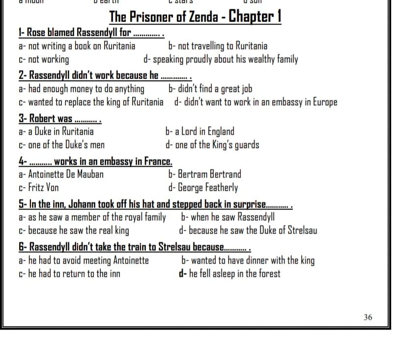 مراجعة قصة سجين زندا بالاجابات 9344