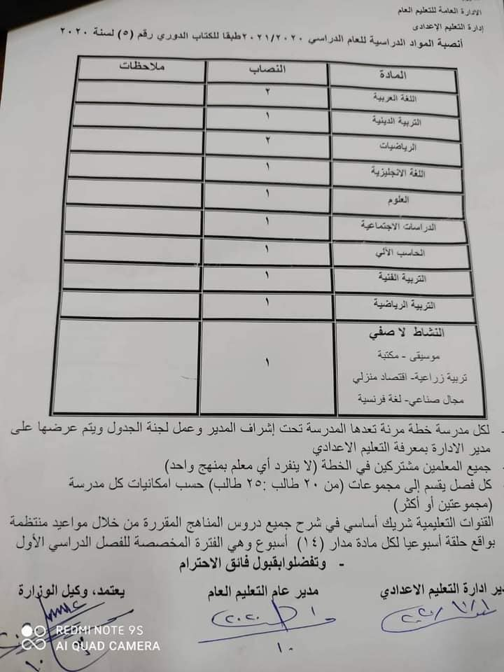 جداول مواعيد الحضور والحصص لطلاب المراحل (الابتدائية والاعدادية والثانوية) للعام الدراسي الجديد 9357