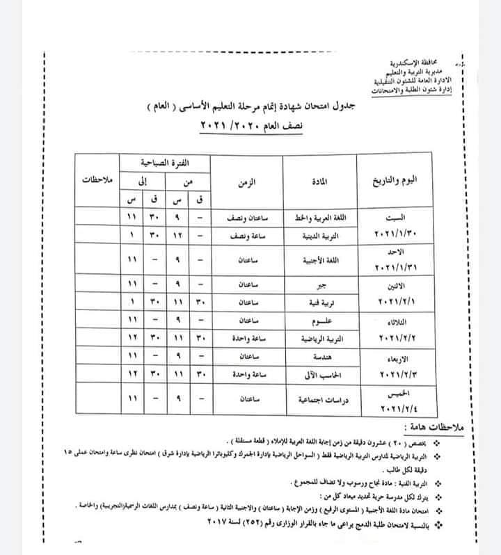 جدول امتحانات الشهادة الاعدادية الترم الاول 2021 جميع المحافظات 9367