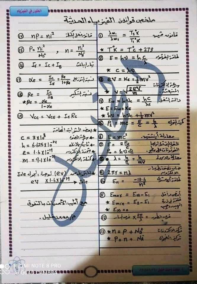 ملخص قوانين الفيزياء للثانوية العامة 9405