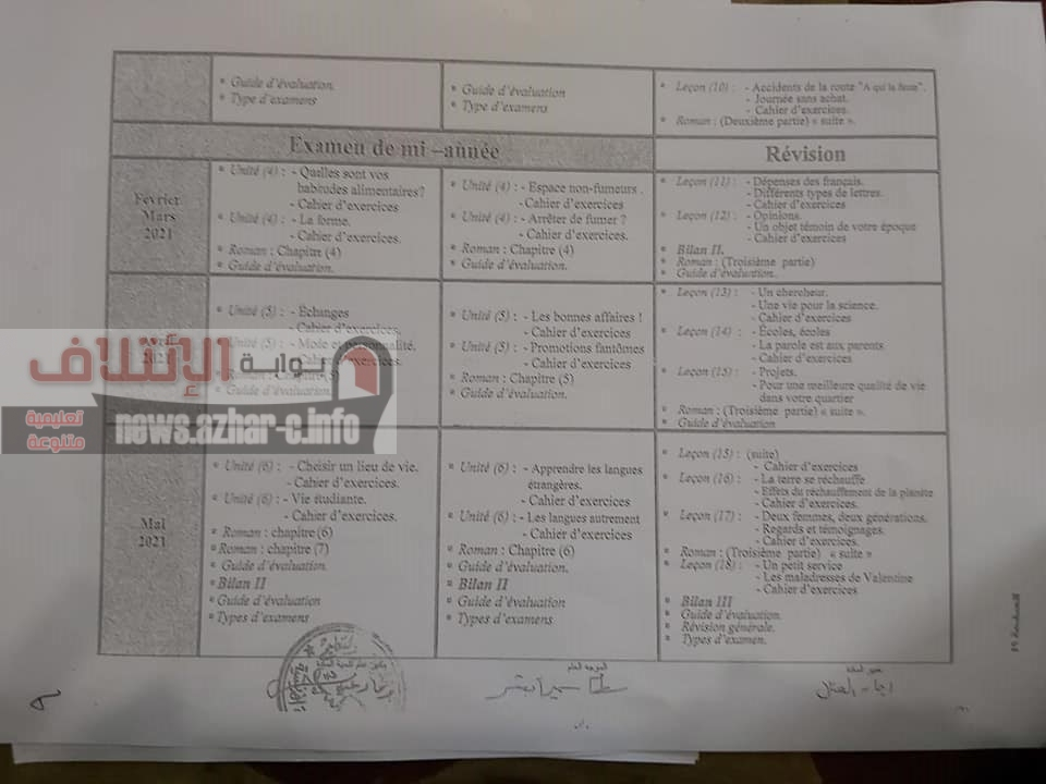 توزيع منهج اللغة الفرنسية لصفوف المرحلة الثانوية 2021 Aaio-110