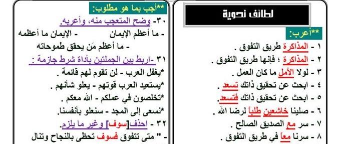 أسئلة لغة عربية مهمة يجب التركيز عليها للثانوية العامة Aao25